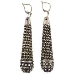 Oversized Jean Paul Gaultier Paris Ethnic Silvered Metal Pierced Earrings