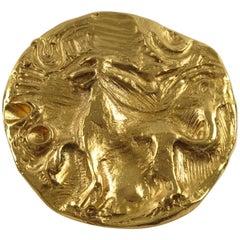 Yves Saint Laurent YSL Paris Signed Pin Brooch Pendant Lion Design