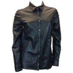 Zadig & Voltaire NWT Leather Snap Button Down Embellished Top