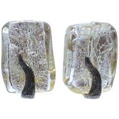 Vintage Roxanne Assoulan Rectangular Clear Snake Earrings