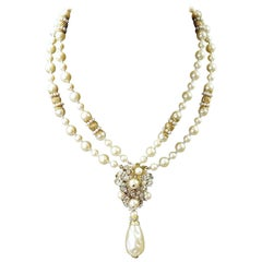 1950s DeMario Vintage Faux Pearl 2 Strand Drop Necklace