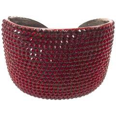 Kenneth Jay Lane Red Rhinestone Cuff Bracelet