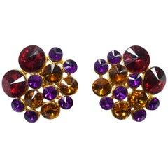 Vintage Multicolor Rhinestone Earrings