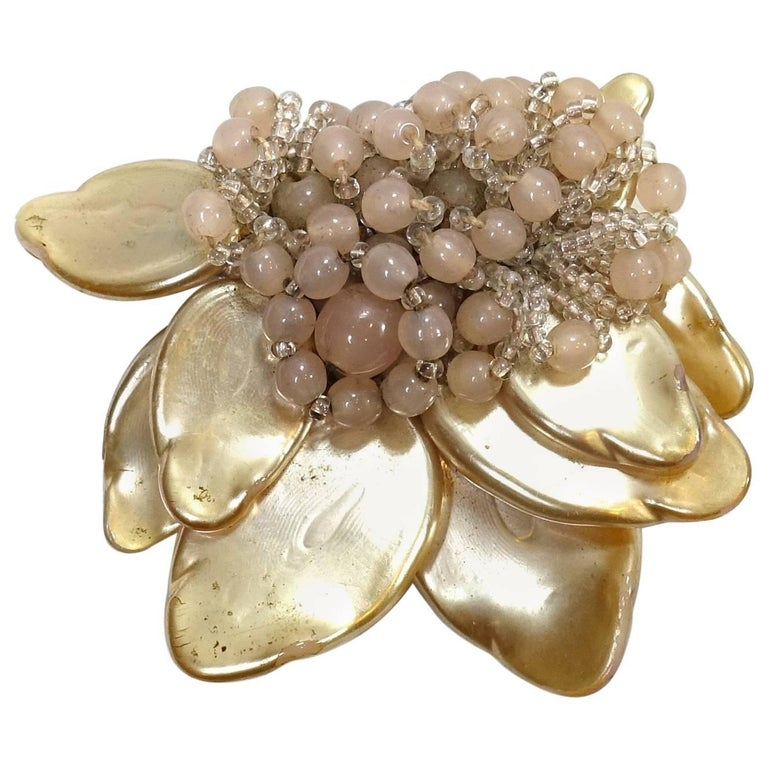 Miriam Haskell Early 1930s Vintage Floral Design Fur Clip Brooch For Sale