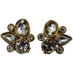 Givenchy Vintage Abstract Crystal Earrings