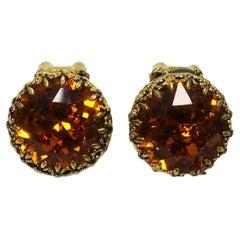 Vintage Signed Austria Topaz Rhinestone Earrings