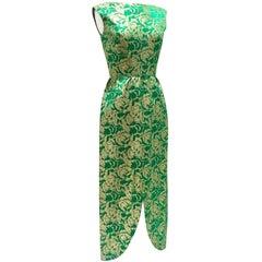 60'S Green & Gold Metallic Brocade Full Length Cocktail Dress