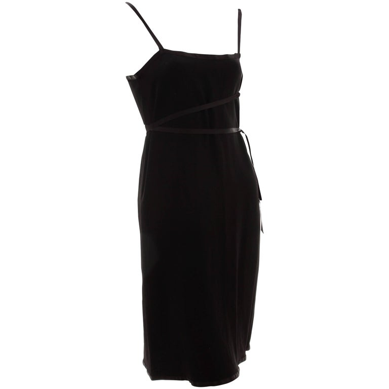Yves Saint Laurent Cocktail Dress Black Crepe with Wrap Ties YSL Rive Gauche 40 For Sale