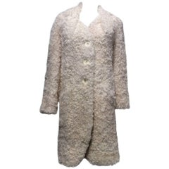 Christian Dior Ivory Curly Lamb Coat Sz38 (Us 6)