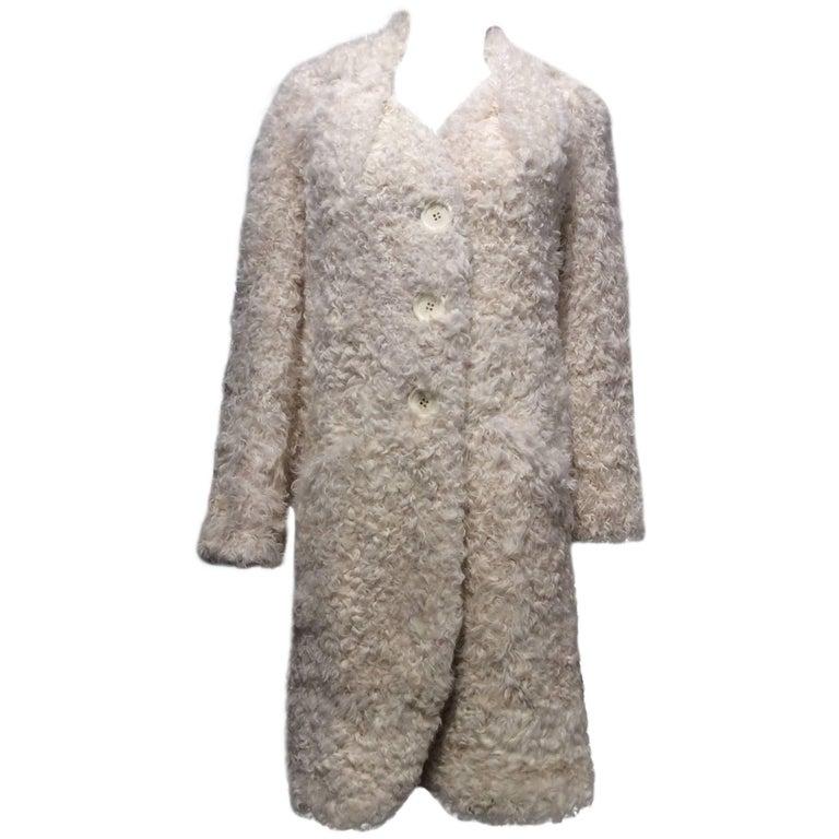 Christian Dior Ivory Curly Lamb Coat Sz38 (Us 6)