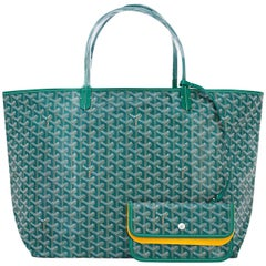 Goyard Tote St Louis Hunter Green Chevron Bag GM