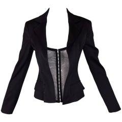 Dolce & Gabbana Sheer Mesh Corset Front Black Jacket Blazer 38