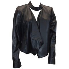 Intermix Black Leather Cropped Jacket