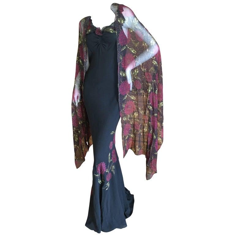 John Galliano 90s Long Black Bias Cut Floral Appliqué Evening Dress with`Shawl For Sale