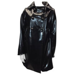 Prada Black Patent Rain Coat With Removable Wool Collar