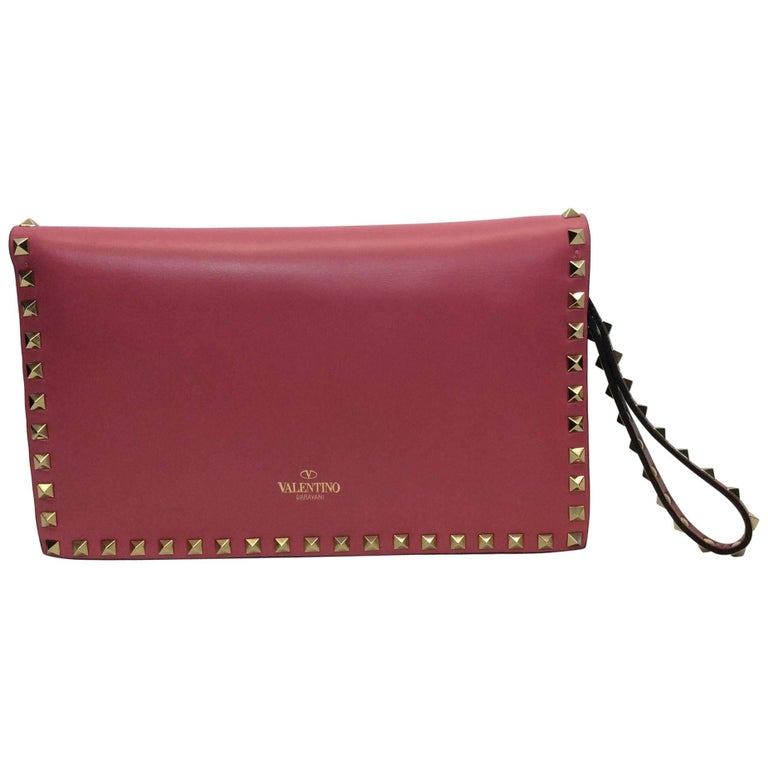 Valentino Tricolor Rockstud Flap Clutch