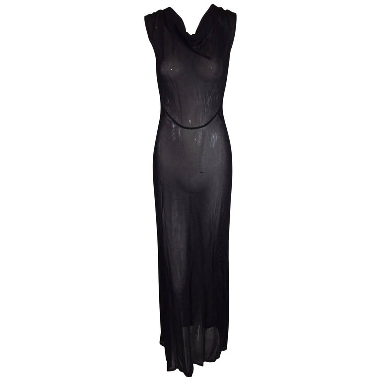 Fendi Sheer Slinky Knit 1920s Flapper Style Long Black Gown Dress