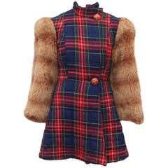 Betsey Johnson Alley Cat Wool Plaid Coat With Faux Fur Sleeves, 1970s