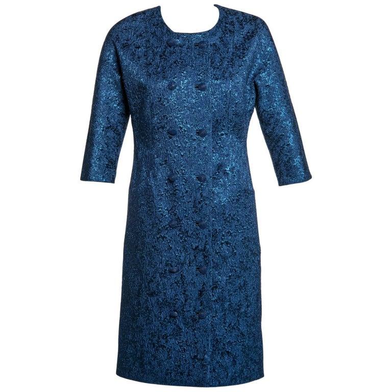 Balenciaga Edition Couture Sapphire Blue Matelassé Princess Seam Evening Coat