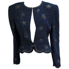1980s Carolina Herrera Aurora Borealis Beaded Bolero Jacket