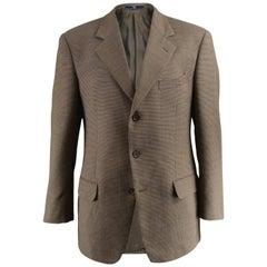 Valentino Vintage Men's Brown Woven Italian Wool Sportcoat, 1990s