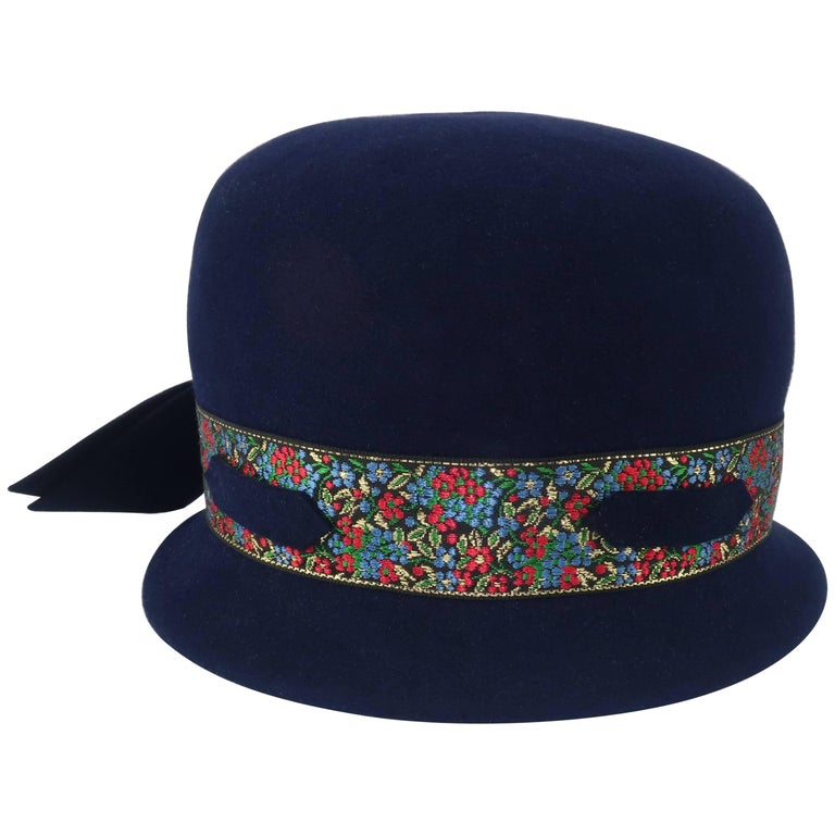 C.1960 Blue Wool Modified Bowler Hat With Brocade Trim For Sale