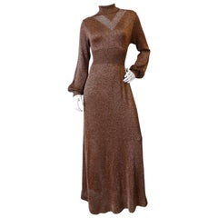 1970s Wenjilli Bronze Metallic Lurex Dress