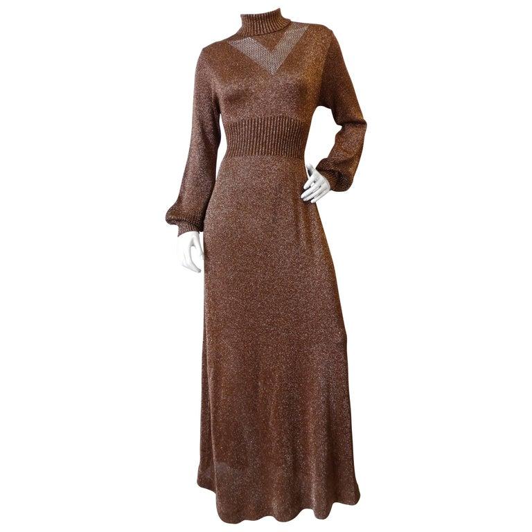 1970s Wenjilli Bronze Metallic Lurex Dress