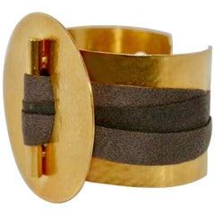 Herve van der Straeten Gilded Brass and Ribbon Cuff