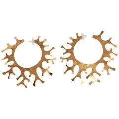 Herve van der Straeten Coral Inspired Hoop Earrings