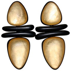 Monies Gold Resin and Ebony Wood Clip Earrings