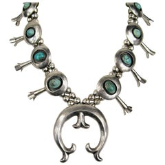Native American Navajo Squash Blossom Sterling Silver Pawn Necklace
