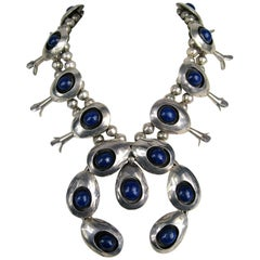 Navajo Lapis Sterling Silver Squash Blossom Native American Necklace