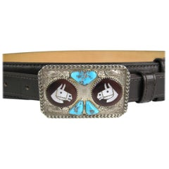 Native American Navajo Sterling Silver Turquoise Belt Buckle w/ Leather Belt