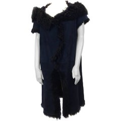 Marni Navy & Black Long Shearling Cap Sleeve Coat
