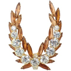 Regal 1950's Laurel Leaf Rhinestone Brooch