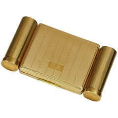 Stratton Necessaire Gold Compact with Lipstick Perfume and Powder Wells, 1950s