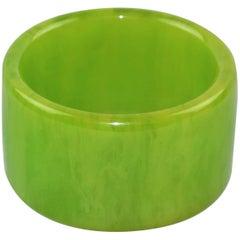 Bakelite Bracelet Bangle Apple Green Marble