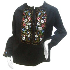 Saks Fifth Avenue Embroidered Black Wool Tunic from Switzerland c 1970s
