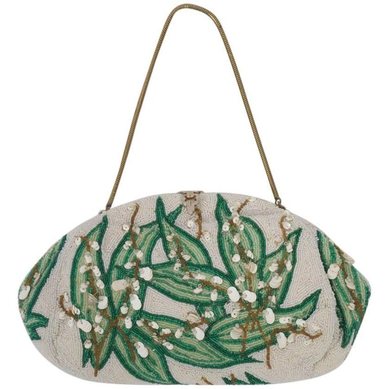 Beaded Evening Bag with Leaf Motif