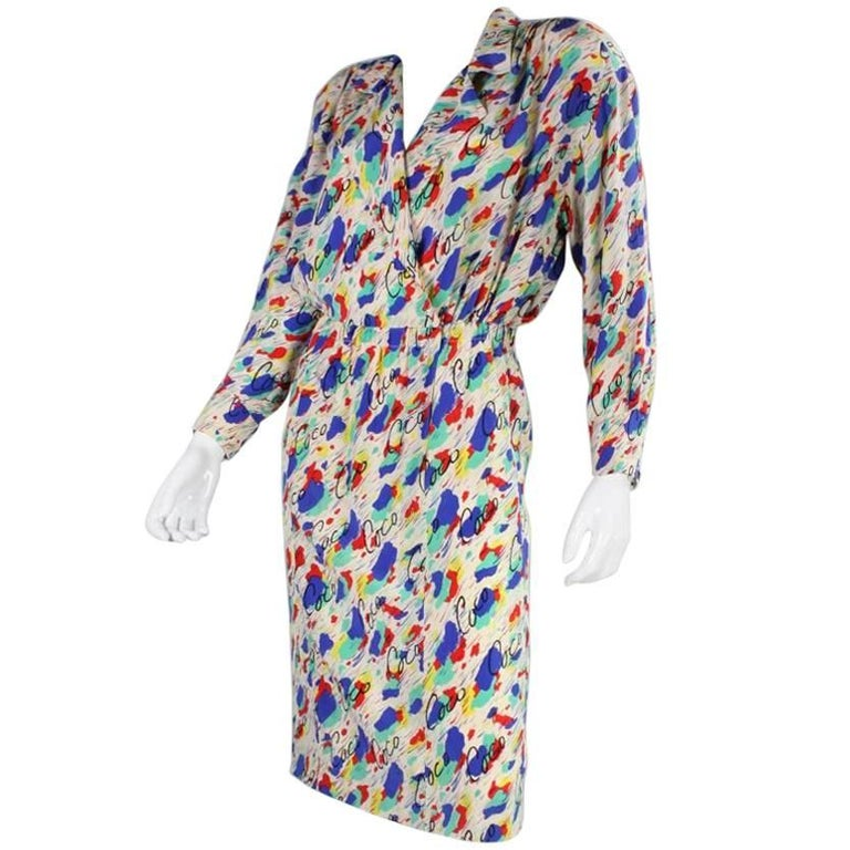 1980's Chanel Silk Dress with Painterly Coco Print For Sale