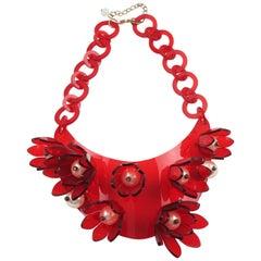 Italian Designer Transparent Red Lucite Bib Necklace Huge Flowers & Pearl