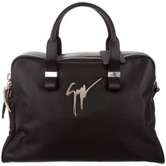 Giuseppe Zanotti New Black Men's Logo Carryall Travel Top Handle Duffle Tote