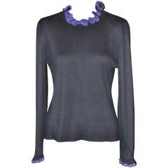 Early 1990s Black Oscar de la Renta Angora and Silk Sweater 12 US