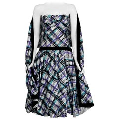 1950's Graphic Plaid Print Cotton Strapless Shelf-Bust Bustle Back Dress & Shawl