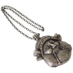 Guy Laroche Paris Signed Modernist Antique God Medallion Pendant Necklace