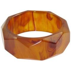 Bakelite Bracelet Bangle Root-beer Marble Carved Faceted Design