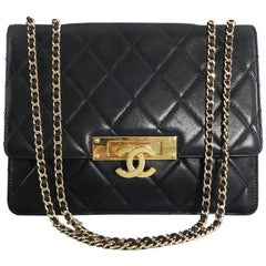 Chanel Cruise 2014 Black Lambskin Quilted Golden Class Medium Flap Bag
