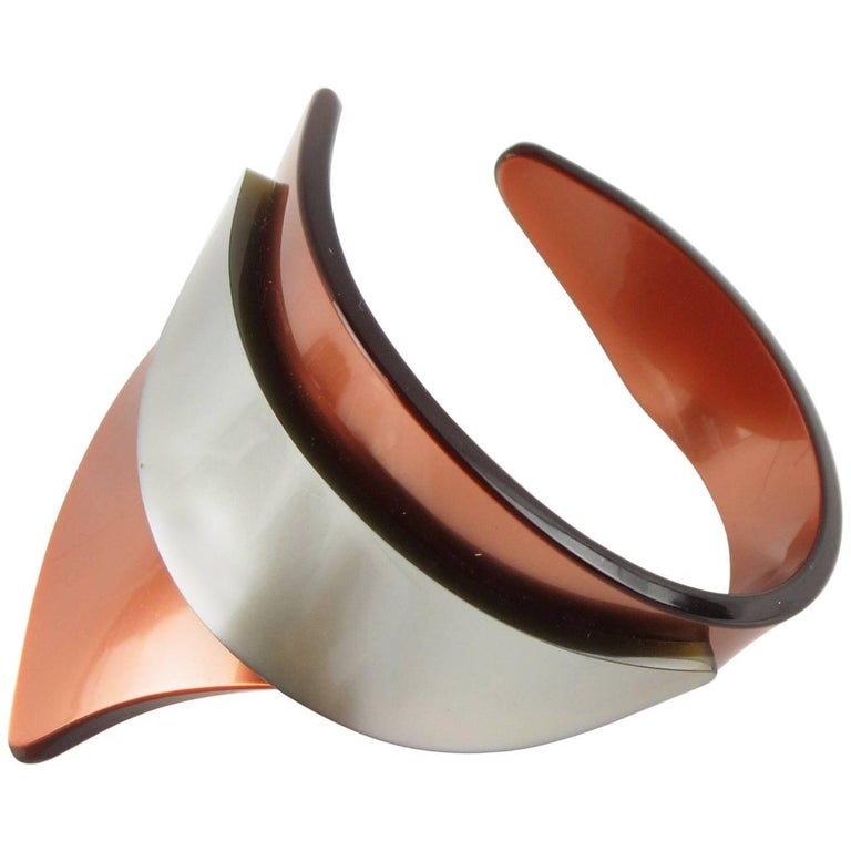 Rare French Artisan Studio Space Age Lucite Sculptural Cuff Bracelet For Sale