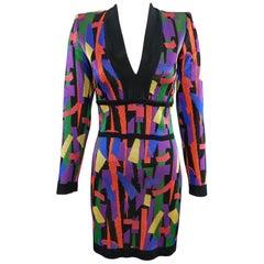 Balmain Multi Color Knit Bodycon Dress